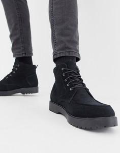 Черные замшевые ботинки на шнуровке Zign - Черный