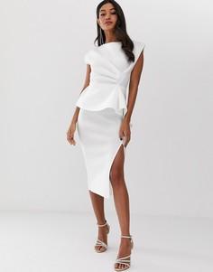 Платье-футляр миди с баской и присборенной отделкой ASOS DESIGN - Белый