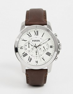 Часы с хронографом и коричневым кожаным ремешком Fossil FS4735 Grant - Коричневый