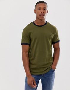 Темно-зеленая футболка с кантом Jack Wills Baildon - Зеленый