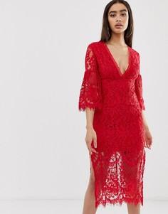Кружевное платье миди с расклешенными рукавами Love Triangle - Красный