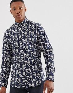 Приталенная премиум-рубашка с длинными рукавами и цветочным принтом Jack & Jones - Темно-синий