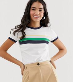 Белая футболка с круглым вырезом и контрастными полосками Monki - Белый