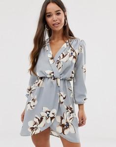 Серое платье с запахом и цветочным принтом Love - Серый