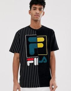 Черная махровая футболка с контрастной отделкой Fila Black - Черный