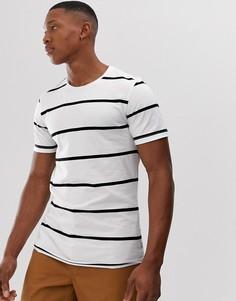 Премиум-футболка в полоску с круглым вырезом и необработанным краем Jack & Jones - Белый