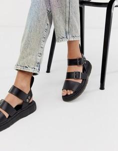 Черные кожаные сандалии Dr Martens Gryphon - Черный