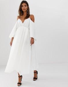 Платье миди в клетку из органзы с перекрестами на спине ASOS EDITION - Белый