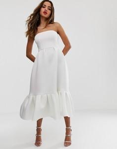 Платье-бандо миди с оборкой ASOS DESIGN - Белый