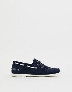 Темно-синие замшевые мокасины с контрастной шнуровкой Tommy Hilfiger - Темно-синий