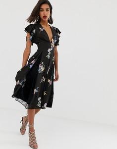 Фиолетовое платье миди с кружевными вставками и цветочным принтом ASOS DESIGN - Мульти
