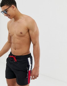 Черные шорты для плавания с затягивающимся шнурком и отделкой лентой Tommy Hilfiger - Черный