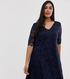 Кружевное платье с расклешенной юбкой Junarose - Темно-синий