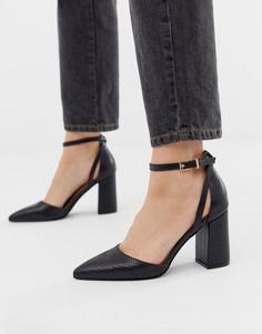 Черные туфли на каблуке с эффектом змеиной кожи RAID Katy - Черный