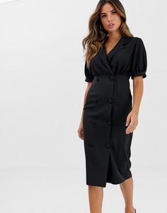Платье миди с воротником ASOS DESIGN - Черный