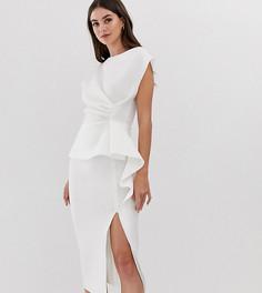 Платье-футляр миди с баской и защипами ASOS DESIGN Tall - Белый