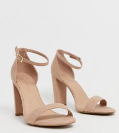 Босоножки нюдового цвета на блочном каблуке New Look wide fit - Кремовый