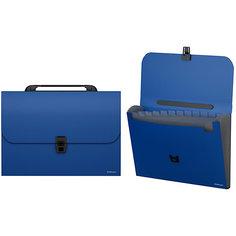 """Пластиковый портфель ErichKrause """"Classic"""" с 12 отделениями, A4, синий"""