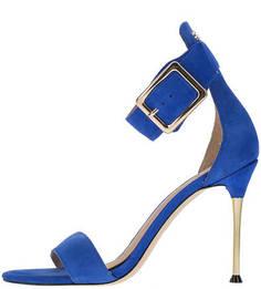 Замшевые синие босоножки на каблуке Guess