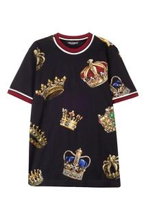Футболка с принтом в виде корон Dolce & Gabbana