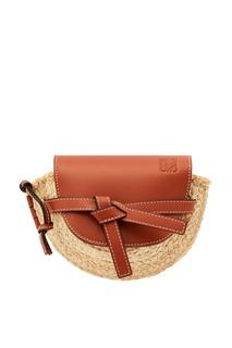 Полукруглая мини-сумка из рафии и кожи Gate Loewe