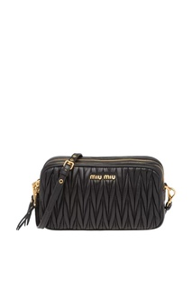 Черная кожаная сумка со стеганым мотивом Miu Miu