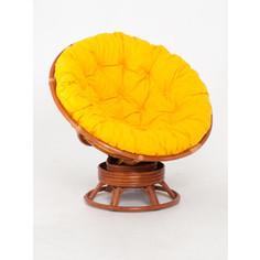 Кресло-качалка Vinotti Papasan 23/01В коньяк желтая подушка