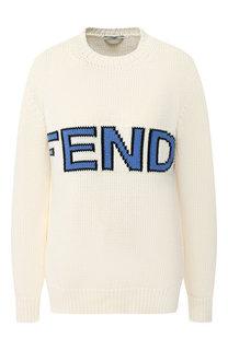 Хлопковый пуловер Fendi