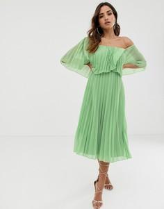 Плиссированное двухслойное платье миди ASOS DESIGN - Мульти