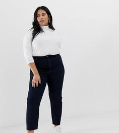 Темные узкие джинсы в винтажном стиле с завышенной талией и строчками ASOS DESIGN Curve Recycled Farleigh - Синий