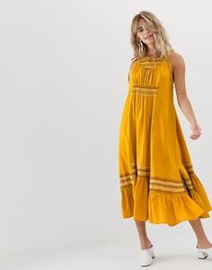 Льняное платье миди с вышивкой Free People Another Love - Желтый