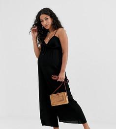 Комбинезон на бретелях с присборенным лифом ASOS DESIGN Maternity - Черный