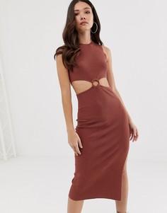 Трикотажное платье миди с вырезом и кольцом ASOS DESIGN - Красный