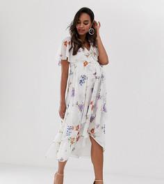 Платье миди с накидкой и цветочным принтом ASOS DESIGN Maternity - Мульти