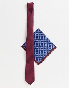 Бордовый узкий галстук и платок для пиджака в решетчатую клетку ASOS DESIGN - Мульти