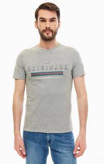 Серая футболка из хлопка с принтом Jack & Jones