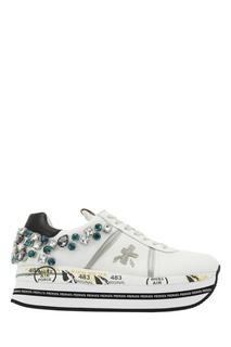 Белые кожаные кроссовки с кристаллами Premiata