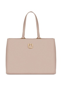 Бежевая кожаная сумка-тоут Belvedere Furla