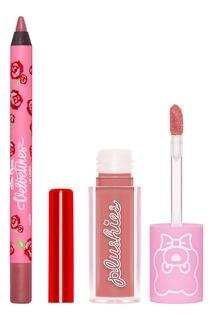 Набор суперлёгких матовых помад и карандашей для губ Mini Plushies & Liner Pink, 1х0,8мл, 1х1,5мл Lime Crime