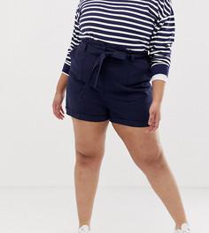Льняные шорты с поясом ASOS DESIGN Curve - Темно-синий