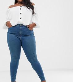 Синие выбеленные джинсы скинни с высокой талией и необработанным краем ASOS DESIGN Curve Ridley - Синий