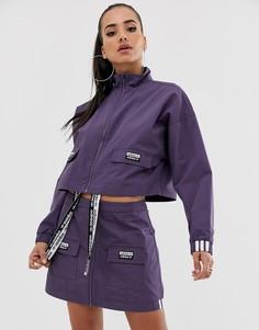 Укороченная фиолетовая куртка с карманами adidas Originals RYV - Фиолетовый