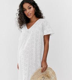 Свободное двустороннее платье с оборками и вышивкой ASOS DESIGN Maternity - Черный