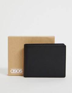 Кожаный кошелек с контрастной внутренней частью ASOS DESIGN - Черный