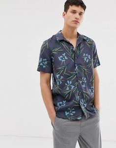 Серая рубашка с короткими рукавами и цветочным принтом PS Paul Smith - Серый