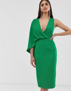 Зеленое платье миди на одно плечо с кейпом Lavish Alice - Зеленый