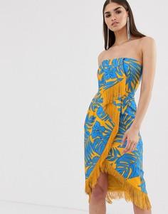 Платье миди с принтом пальм, отворотом в стиле оригами и бахромой Lavish Alice - Мульти