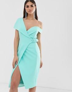 Платье миди мятного цвета с открытыми плечами и поясом Lavish Alice - Зеленый