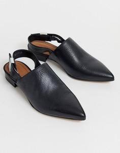 Черные туфли на плоской подошве с острым носом и ремешком через пятку ASOS DESIGN - Черный