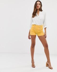 Короткие желтые шорты на пуговицах Morgan - Желтый